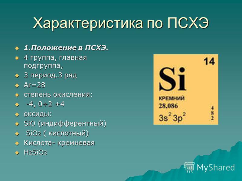 Характеристика по ПСХЭ 1. Положение в ПСХЭ. 1. Положение в ПСХЭ. 4 группа, главная подгруппа, 4 группа, главная подгруппа, 3 период.3 ряд 3 период.3 ряд Аr=28 Аr=28 степень окисления: степень окисления: -4, 0+2 +4 -4, 0+2 +4 оксиды: оксиды: SiO (инди