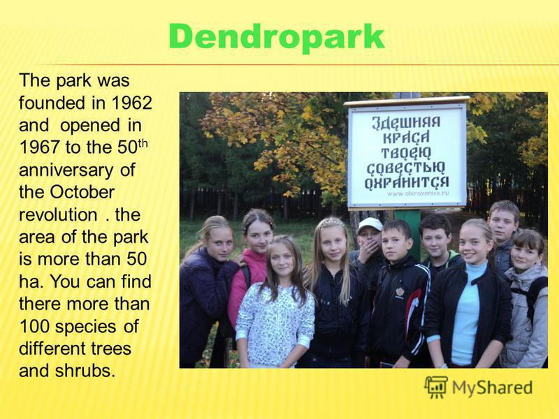 The park was founded in 1962 and opened in 1967 to the 50 th anniversary of the October revolution. the area of the park is more than 50 ha. You can find there more than 100 species of different trees and shrubs. Dendropark