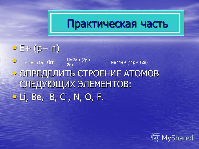 Практическая часть E+ (p+ n) ОПРЕДЕЛИТЬ СТРОЕНИЕ АТОМОВ СЛЕДУЮЩИХ ЭЛЕМЕНТОВ: Li, Be, В, C, N, O, F. H 1 е + (1 р + 0n ) He 2 е + (2 р + 2n) Na 11 е + (11 р + 12n)