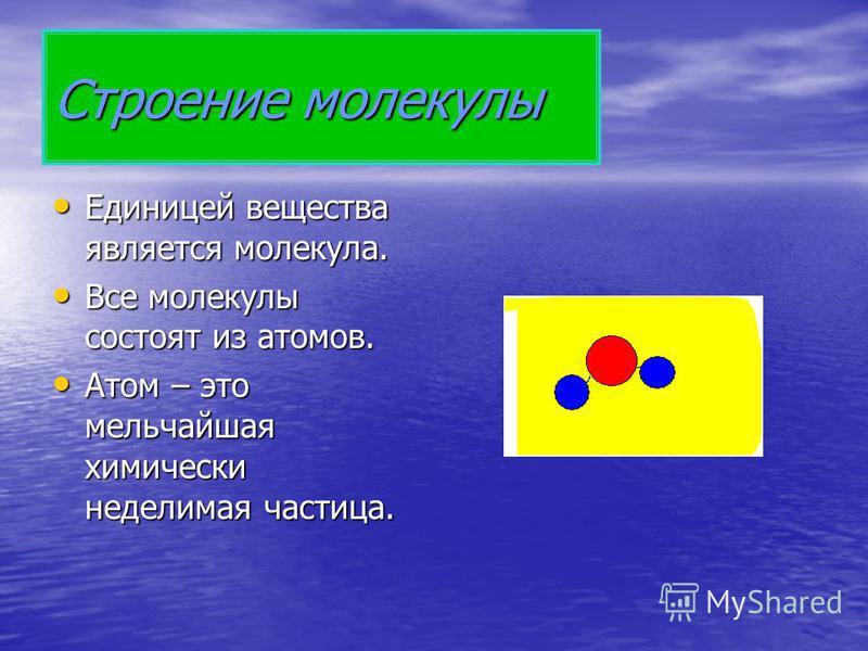 Строение молекулы Единицей вещества является молекула. Единицей вещества является молекула. Все молекулы состоят из атомов. Все молекулы состоят из атомов. Атом – это мельчайшая химически неделимая частица. Атом – это мельчайшая химически неделимая ч