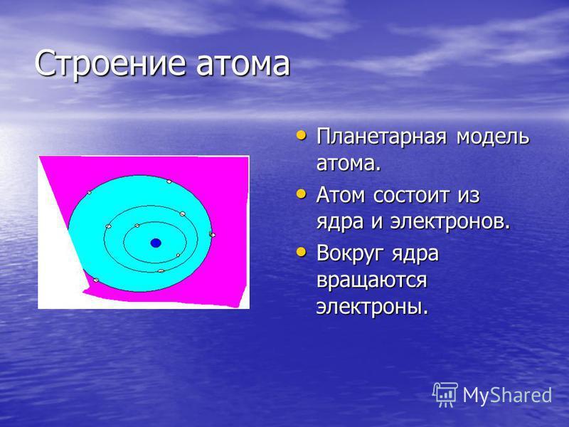 Строение атома Планетарная модель атома. Атом состоит из ядра и электронов. Вокруг ядра вращаются электроны.