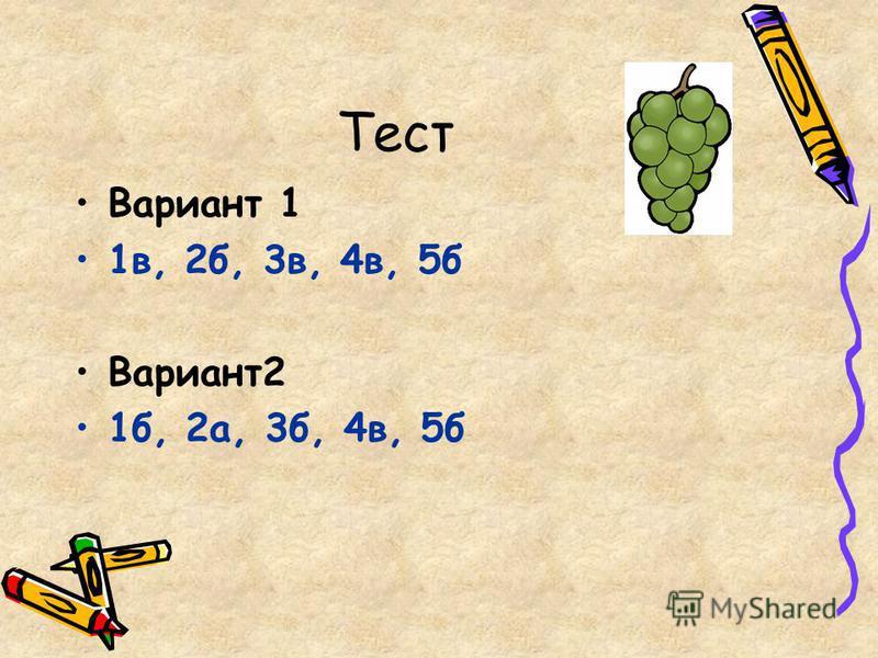 Вариант 1 1 в, 2 б, 3 в, 4 в, 5 б Вариант 2 1 б, 2 а, 3 б, 4 в, 5 б