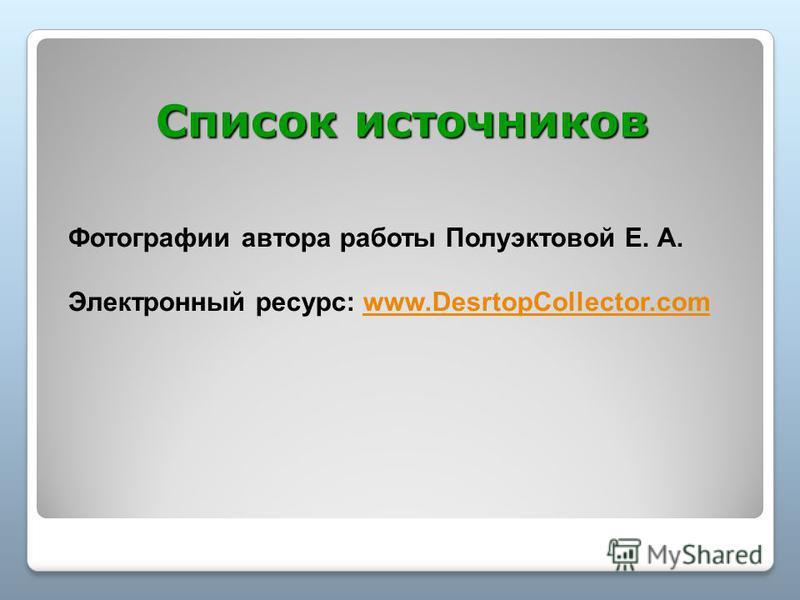Список источников Фотографии автора работы Полуэктовой Е. А. Электронный ресурс: www.DesrtopCollector.comwww.DesrtopCollector.com