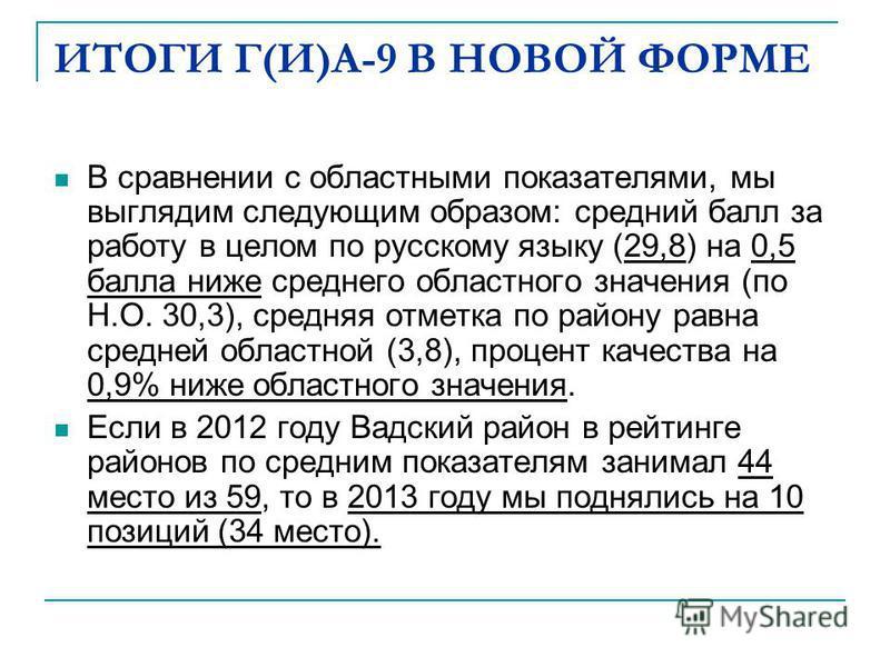 ИТОГИ Г(И)А-9 В НОВОЙ ФОРМЕ В сравнении с областными показателями, мы выглядим следующим образом: средний балл за работу в целом по русскому языку (29,8) на 0,5 балла ниже среднего областного значения (по Н.О. 30,3), средняя отметка по району равна с