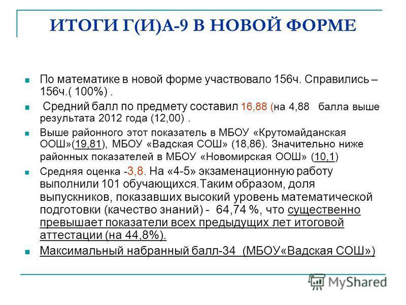 ИТОГИ Г(И)А-9 В НОВОЙ ФОРМЕ По математике в новой форме участвовало 156 ч. Справились – 156 ч.( 100%). Средний балл по предмету составил 16,88 (на 4,88 балла выше результата 2012 года (12,00). Выше районного этот показатель в МБОУ «Крутомайданская ОО