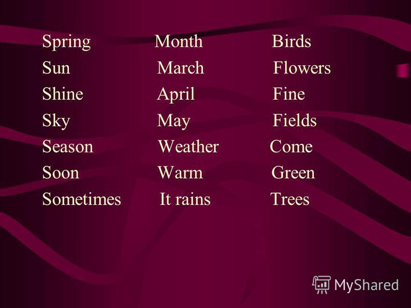 Spring Month Birds Sun March Flowers Shine April Fine Sky May Fields Season Weather Come Soon Warm Green Sometimes It rains Trees