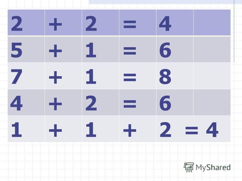 2+2=4 5+1=6 7+1=8 4+2=6 1+1+2 = 4