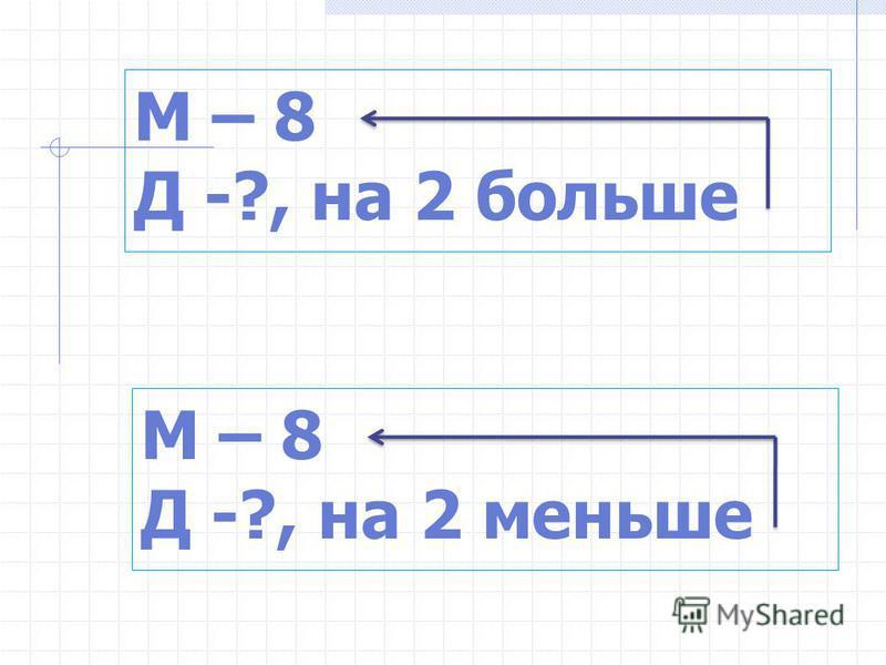 М – 8 Д -?, на 2 больше М – 8 Д -?, на 2 меньше