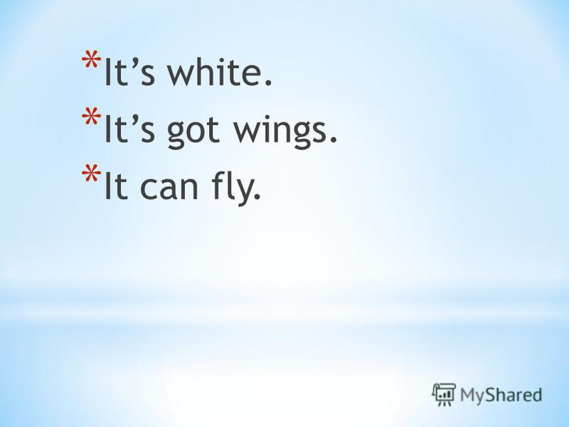 * Its white. * Its got wings. * It can fly.
