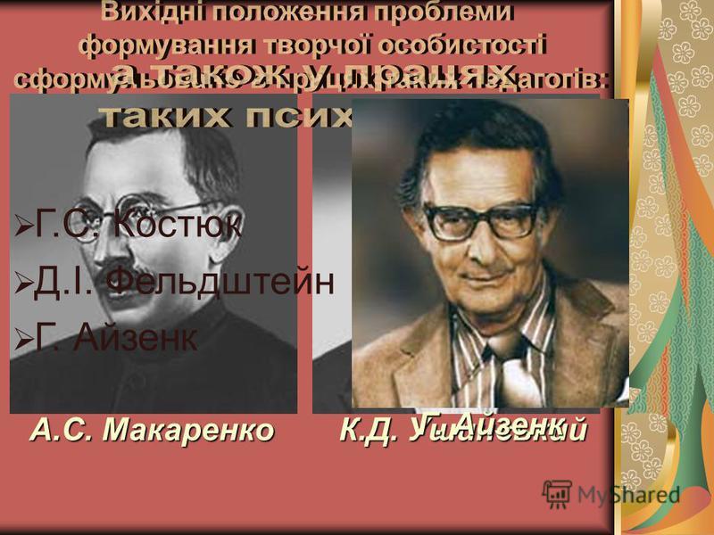 А.С. Макаренко К.Д. Ушинський Г.С. Костюк Д.І. Фельдштейн Г. Айзенк