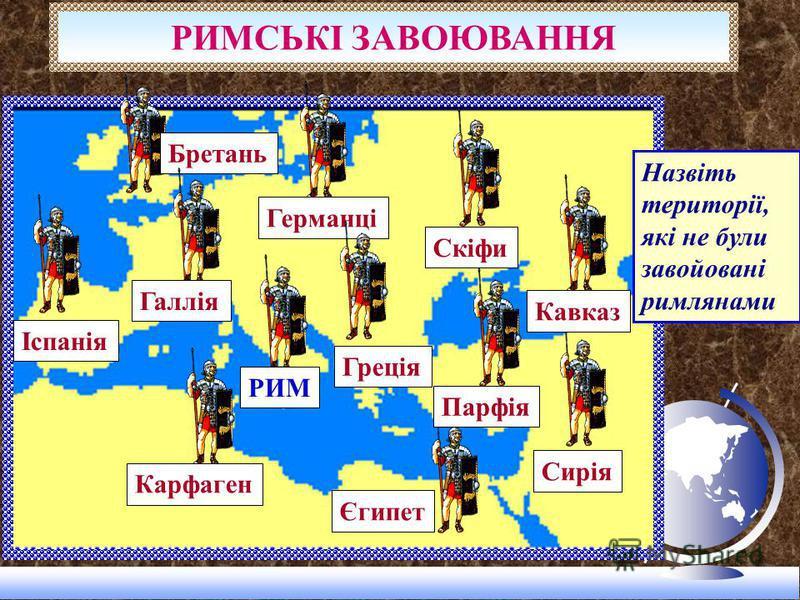 Бретань КарфагенГерманці Єгипет Сирія Кавказ Скіфи Парфія Греція Галлія Іспанія РИМ РИМСЬКІ ЗАВОЮВАННЯ Назвіть території, які не були завойовані римлянами