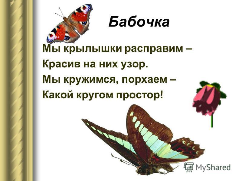 Бабочка Мы крылышки расправим – Красив на них узор. Мы кружимся, порхаем – Какой кругом простор!