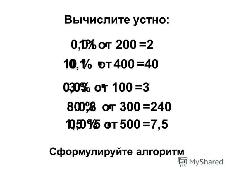 Вычислите устно: 1%от 200 · =2 10 %от 400 · =40 3 %от 100=3 · 80 %от 300=240 · 1,5 %от 500 · =7,5 0,01 0,1 0,03 0,8 0,015 Сформулируйте алгоритм