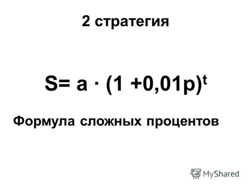 2 стратегия S= a · (1 +0,01p) t Формула сложных процентов