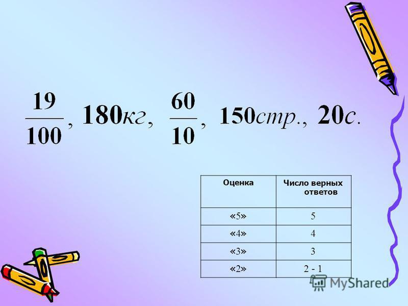Оценка Число верных ответов «5»«5» 5 «4»«4» 4 «3»«3» 3 «2»«2» 2 - 1