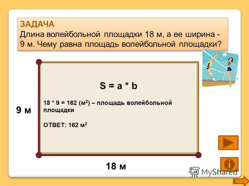 ЗАДАЧА Длина волейбольной площадки 18 м, а ее ширина - 9 м. Чему равна площадь волейбольной площадки? ЗАДАЧА Длина волейбольной площадки 18 м, а ее ширина - 9 м. Чему равна площадь волейбольной площадки? 18 м 9 м S = a * b 18 * 9 = 162 (м 2 ) – площа