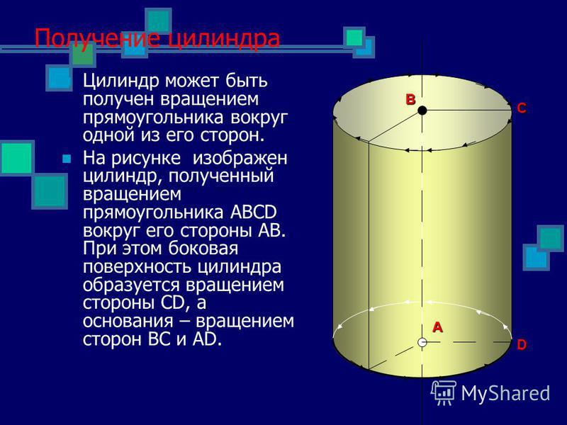 Получение цилиндра Цилиндр может быть получен вращением прямоугольника вокруг одной из его сторон. На рисунке изображен цилиндр, полученный вращением прямоугольника ABCD вокруг его стороны AB. При этом боковая поверхность цилиндра образуется вращение