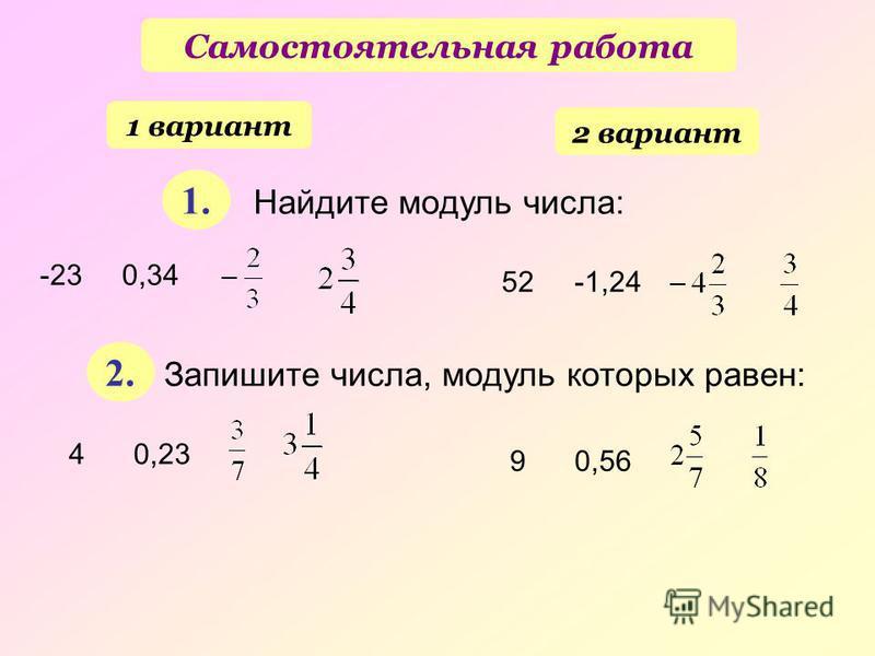 Самостоятельная работа 1 вариант 2 вариант 1. 2. Найдите модуль числа: -23 0,34 52 -1,24 Запишите числа, модуль которых равен: 4 0,23 9 0,56
