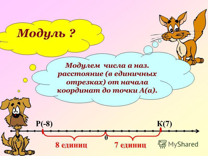 Модуль ? Модулем числа а наз. расстояние (в единичных отрезках) от начала координат до точки А(а). 0 К(7)Р(-8) 8 единиц 7 единиц
