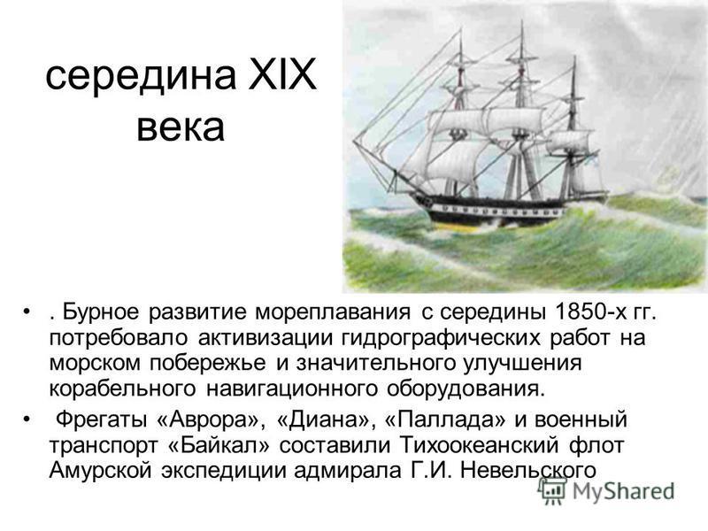 середина XIX века. Бурное развитие мореплавания с середины 1850-х гг. потребовало активизации гидрографических работ на морском побережье и значительного улучшения корабельного навигационного оборудования. Фрегаты «Аврора», «Диана», «Паллада» и военн