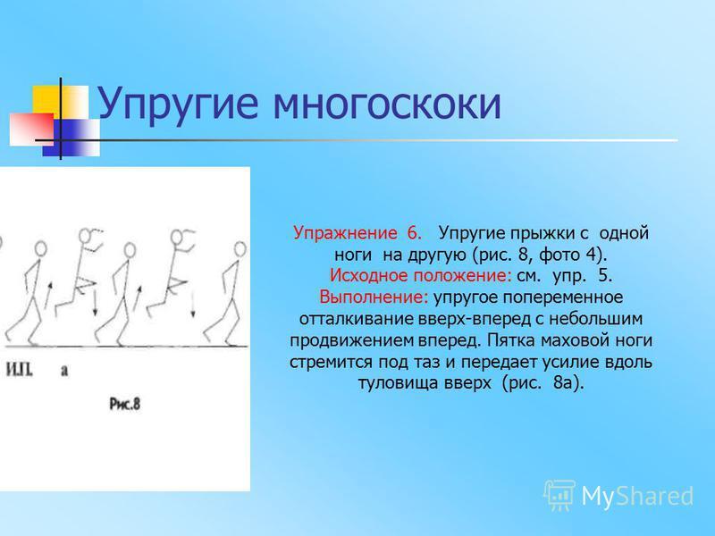 Упражнение 6. Упругие прыжки с одной ноги на другую (рис. 8, фото 4). Исходное положение: см. упр. 5. Выполнение: упругое попеременное отталкивание вверх-вперед с небольшим продвижением вперед. Пятка маховой ноги стремится под таз и передает усилие