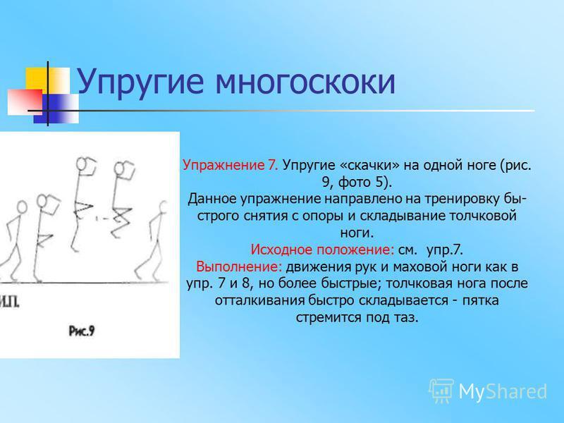 Упражнение 7. Упругие «скачки» на одной ноге (рис. 9, фото 5). Данное упражнение направлено на тренировку бы строго снятия с опоры и складывание толчковой ноги. Исходное положение: см. упр.7. Выполнение: движения рук и маховой ноги как в упр. 7 и 8,