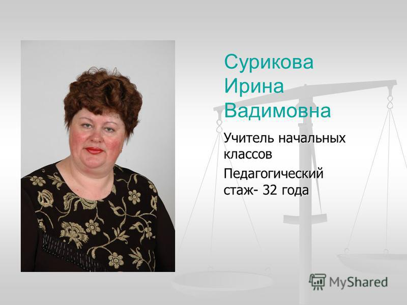 Сурикова Ирина Вадимовна Учитель начальных классов Педагогический стаж- 32 года