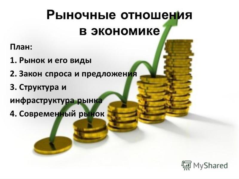 Рыночные отношения в экономике План: 1. Рынок и его виды 2. Закон спроса и предложения 3. Структура и инфраструктура рынка 4. Современный рынок План: 1. Рынок и его виды 2. Закон спроса и предложения 3. Структура и инфраструктура рынка 4. Современный