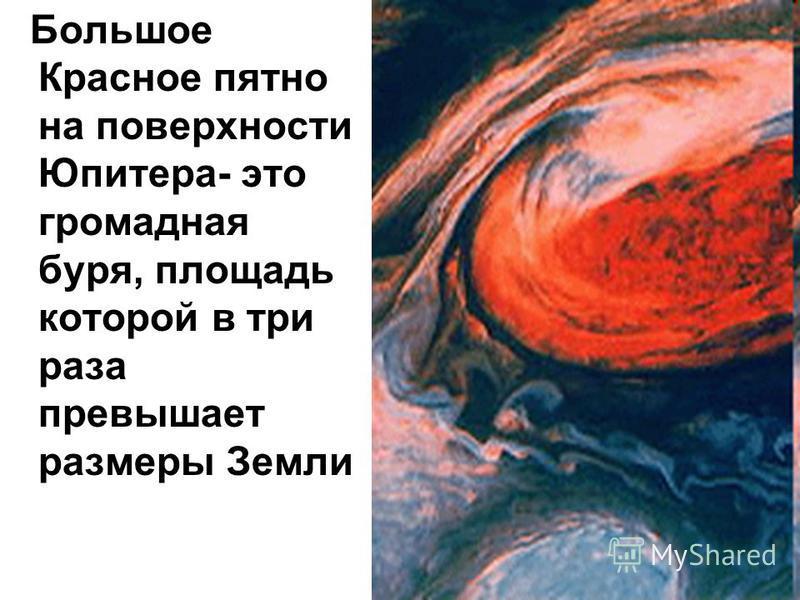 Большое Красное пятно на поверхности Юпитера- это громадная буря, площадь которой в три раза превышает размеры Земли