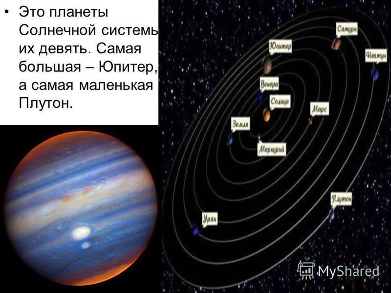 Это планеты Солнечной системы их девять. Самая большая – Юпитер, а самая маленькая – Плутон.