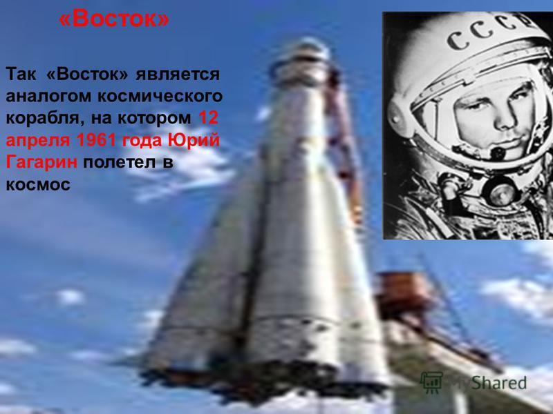 «Восток» Так «Восток» является аналогом космического корабля, на котором 12 апреля 1961 года Юрий Гагарин полетел в космос