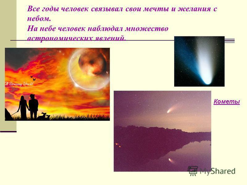 Все годы человек связывал свои мечты и желания с небом. На небе человек наблюдал множество астрономических явлений. Кометы