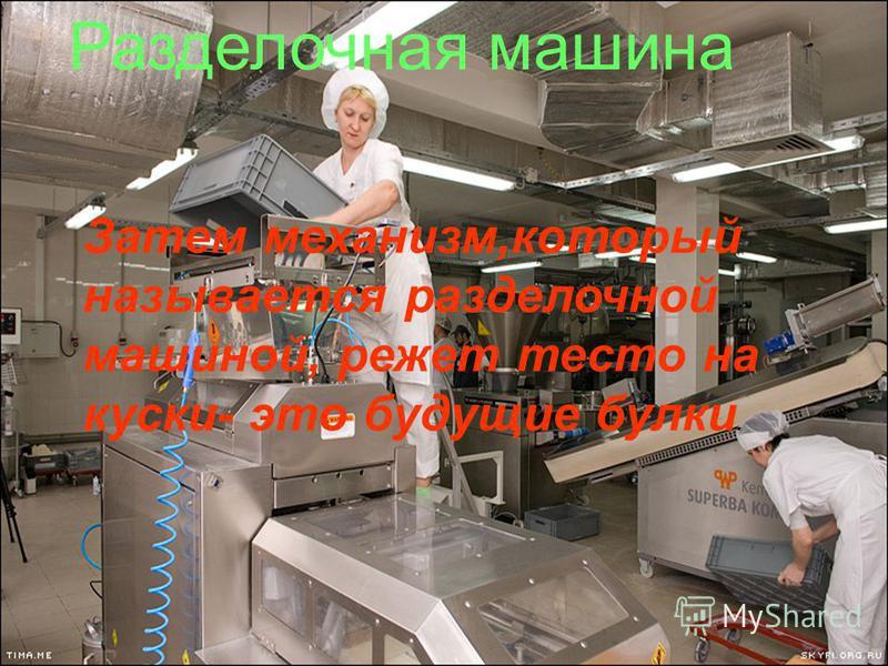 Разделочная машина Затем механизм,который называется разделочной машиной, режет тесто на куски- это будущие булки.