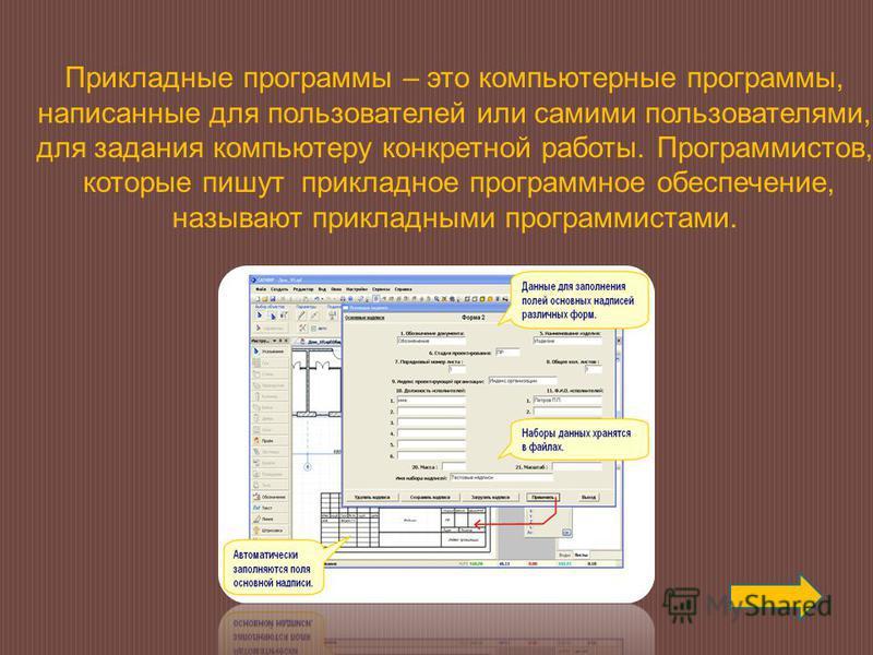 Прикладные программы – это компьютерные программы, написанные для пользователей или самими пользователями, для задания компьютеру конкретной работы. Программистов, которые пишут прикладное программное обеспечение, называют прикладными программистами.