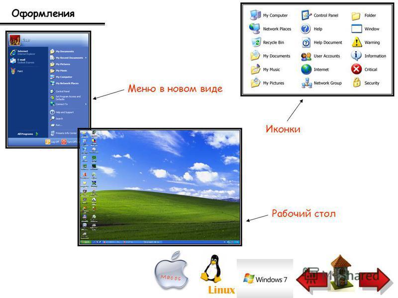 Оформления Меню в новом виде Иконки Рабочий стол Linux Mac os