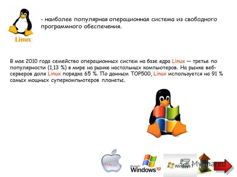 Linux - наиболее популярная операционная система из свободного программного обеспечения. В мае 2010 года семейство операционных систем на базе ядра Linux третье по популярности (1,13 %) в мире на рынке настольных компьютеров. На рынке веб- серверов д
