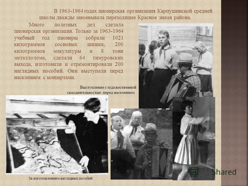 В 1963-1964 годах пионерская организация Карпушинской средней школы дважды завоевывала переходящее Красное знамя района. Много полезных дел сделала пионерская организация. Только за 1963-1964 учебный год пионеры собрали 1021 килограммов сосновых шише