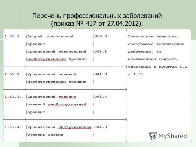 Перечень профессиональных заболеваний (приказ 417 от 27.04.2012).