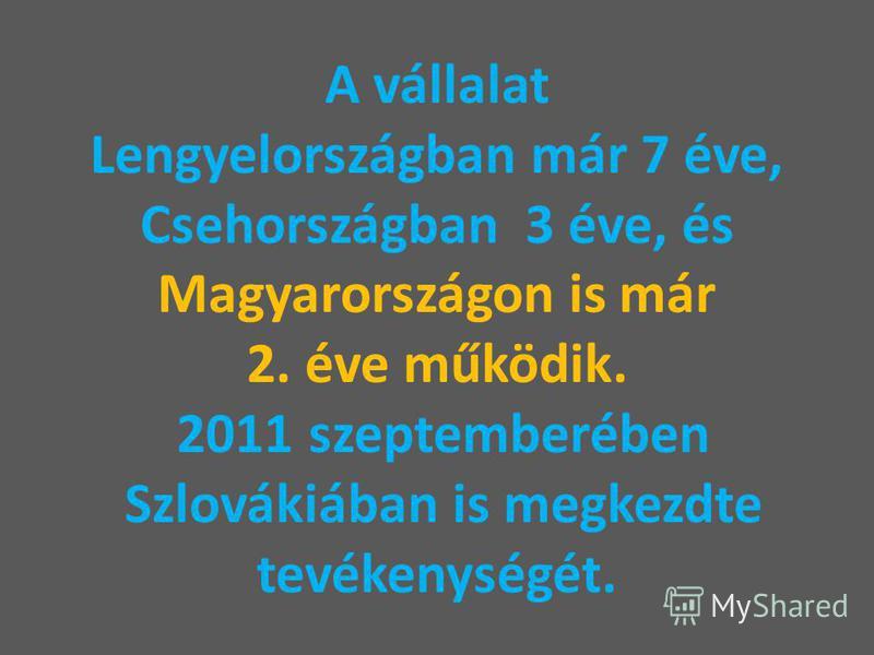 A vállalat Lengyelországban már 7 éve, Csehországban 3 éve, és Magyarországon is már 2. éve működik. 2011 szeptemberében Szlovákiában is megkezdte tevékenységét.