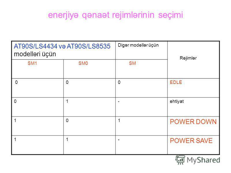enerjiyə qənaət rejimlərinin seçimi AT90S/LS4434 və AT90S/LS8535 modelləri üçün Digər modellər üçün Rejimlər SM1 SM0 SM 000EDLE 01-ehtiyat 101 POWER DOWN 11- POWER SAVE