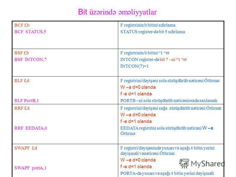 Bit üzərində əməliyyatlar BCF f,b BCF STATUS,5 F registrinin b bitini sıfırlama STATUS register-də bit 5 sıfırlama BSF f,b BSF İNTCON,7 F registrinin b bitini 1 et INTCON register-də bit 7 –ni 1 et İNTCON(7)=1 RLF f,d RLF PortB,1 F registrini/dəyişən