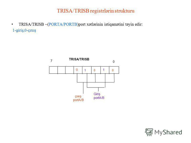 TRISA/TRISB registrlərin strukturu TRISA/TRISB –(PORTA/PORTB)port xətlərinin istiqamətini təyin edir: 1-giriş,0-çıxış 0 7 0 1 01 0 TRISA/TRISB çıxış portA/B Giriş portA/B