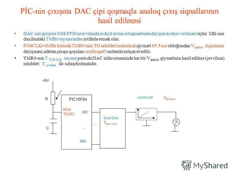 PİC-nin çıxışına DAC çipi qoşmaqla analoq çıxış siqnallarının hasil edilməsi DAC-nin girişinə 00H-FFH intervalında ardıcıl artma istiqamətində dəyişən kodun verilməsi üçün MK-nın daxilindəki TMR0 taymerindən istifadə etmək olar. FOSCLK=4MHs halında T