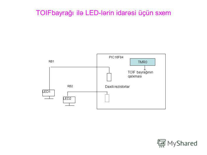 TOIFbayrağı ilə LED-lərin idarəsi üçün sxem LED1 LED2 RB1 RB2 PIC16F84 Daxili rezistorlar TMR0 TOİF bayrağının qalxması