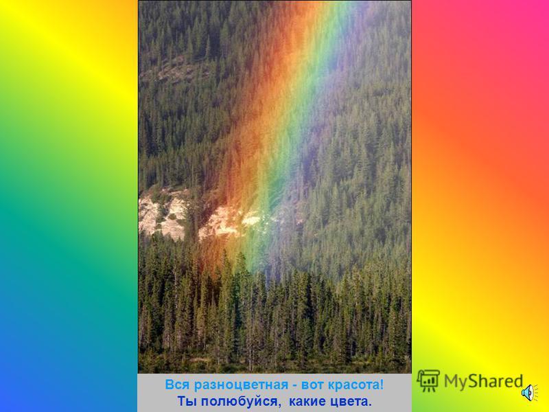 Долго трудились над радугой краски, Радуга вышла красивой как в сказке.