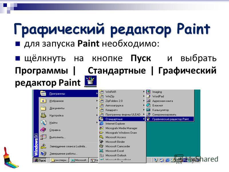 Графический редактор Paint для запуска Paint необходимо: щёлкнуть на кнопке Пуск и выбрать Программы | Стандартные | Графический редактор Paint