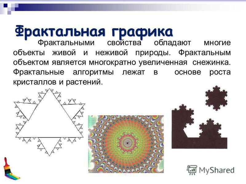 Фрактальная графика Фрактальными свойства обладают многие объекты живой и неживой природы. Фрактальным объектом является многократно увеличенная снежинка. Фрактальные алгоритмы лежат в основе роста кристаллов и растений.