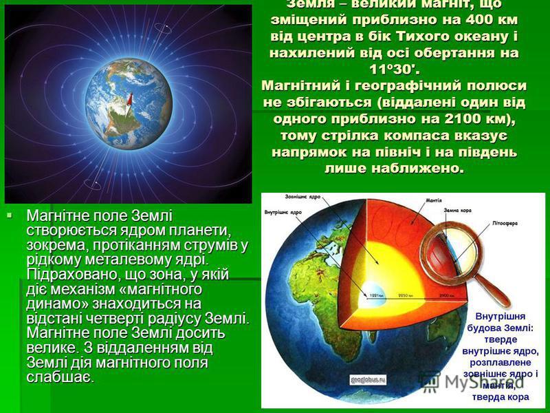 Земля – великий магніт, що зміщений приблизно на 400 км від центра в бік Тихого океану і нахилений від осі обертання на 11º30'. Магнітний і географічний полюси не збігаються (віддалені один від одного приблизно на 2100 км), тому стрілка компаса вказу