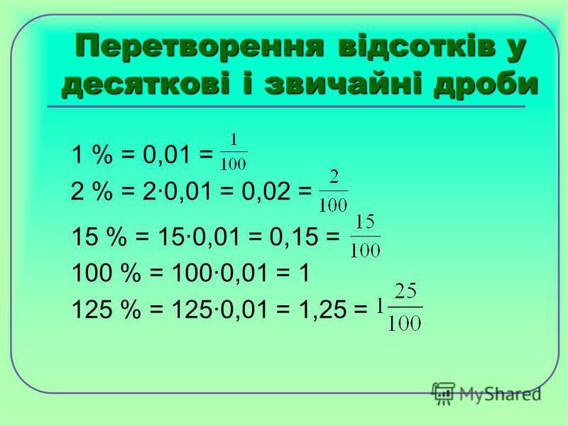 Перетворення відсотків у десяткові і звичайні дроби 1 % = 0,01 = 2 % = 2·0,01 = 0,02 = 15 % = 15·0,01 = 0,15 = 100 % = 100·0,01 = 1 125 % = 125·0,01 = 1,25 =