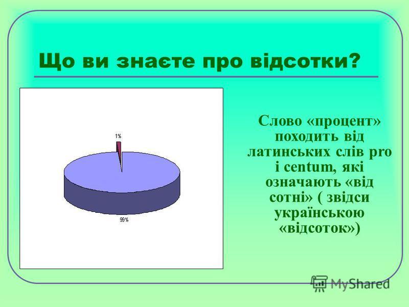 Що ви знаєте про відсотки? Слово «процент» походить від латинських слів pro і centum, які означають «від сотні» ( звідси українською «відсоток»)